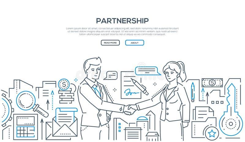 Партнерство - современная линия иллюстрация стиля дизайна бесплатная иллюстрация