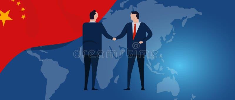 Партнерство international Китая Переговоры дипломатии Рукопожатие согласования отношения дела Флаг и карта страны иллюстрация штока