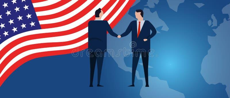 Партнерство international США Соединенных Штатов Америки Переговоры дипломатии Рукопожатие согласования отношения дела иллюстрация вектора