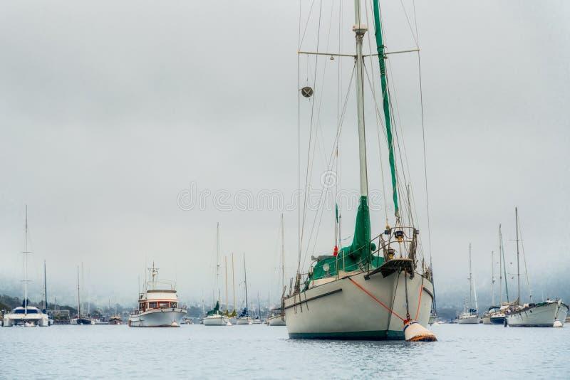 Парусники состыкованные в гавани Туманный день overcast, открытое море, сцена безмятежности стоковое фото rf