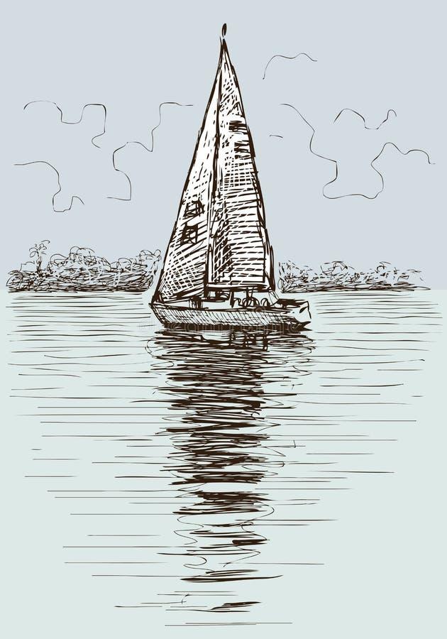 Парусник в заливе иллюстрация вектора