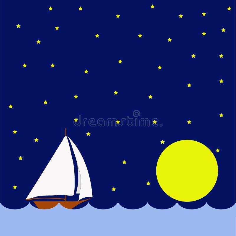 Парусник в ноче, огромная луна стоковые фото