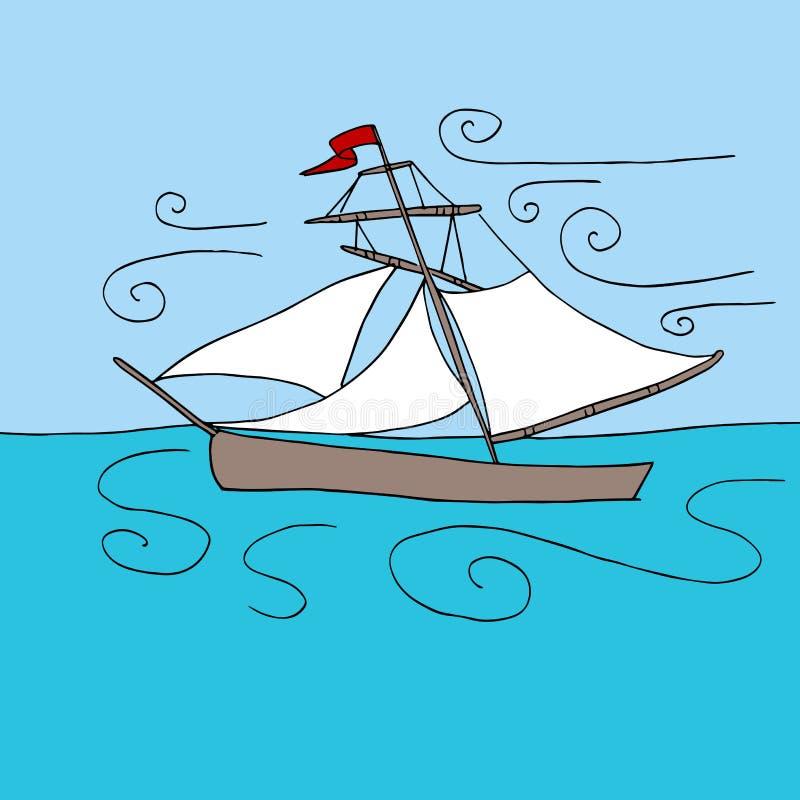 Парусник в океане бесплатная иллюстрация