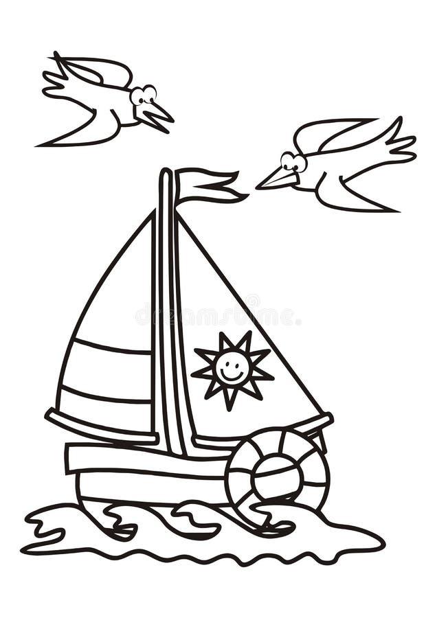 Парусник, книжка-раскраска иллюстрация штока