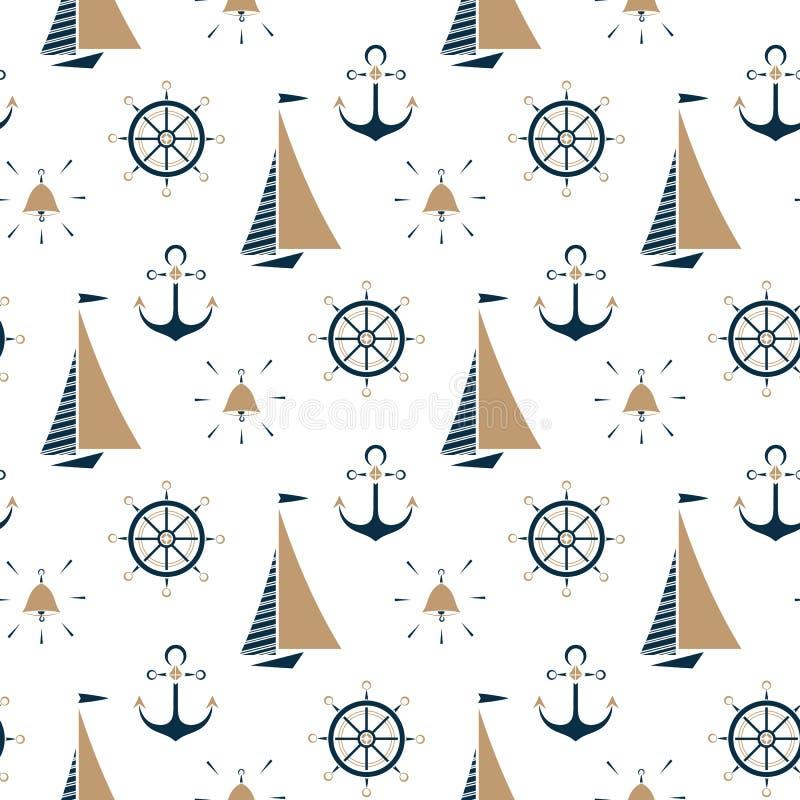 Парусник, колокол корабля, морской анкер, картина рулевого колеса безшовная стоковое изображение rf