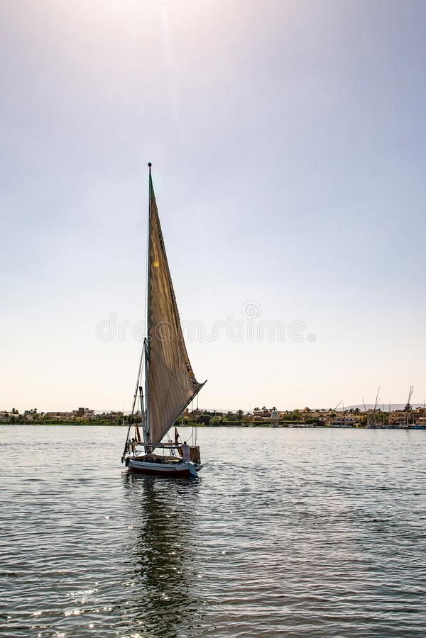 17 05 Парусник felucca 18 Асуан Египет на западном береге Нила стоковое фото rf