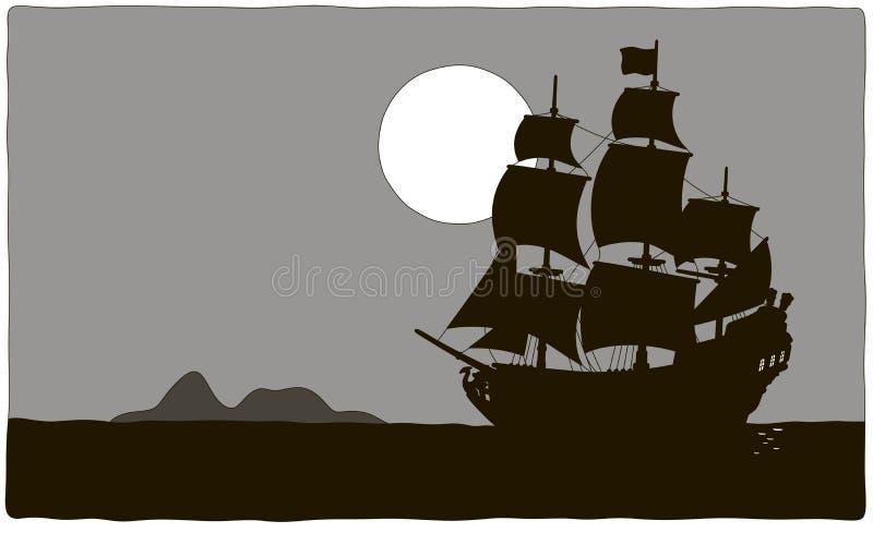 Парусное судно пирата около острова сокровища иллюстрация вектора