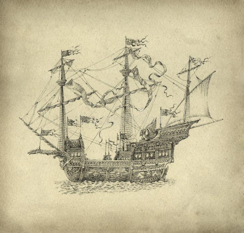 Парусное судно фантазии иллюстрация штока