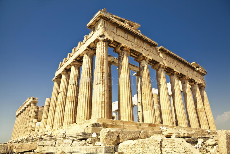 Парфенон на акрополе в Афинах, Греции стоковая фотография