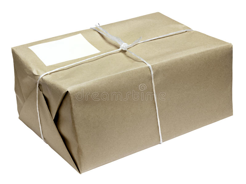 Парцелла парцеллы картона связанная с шнуром стоковые фотографии rf