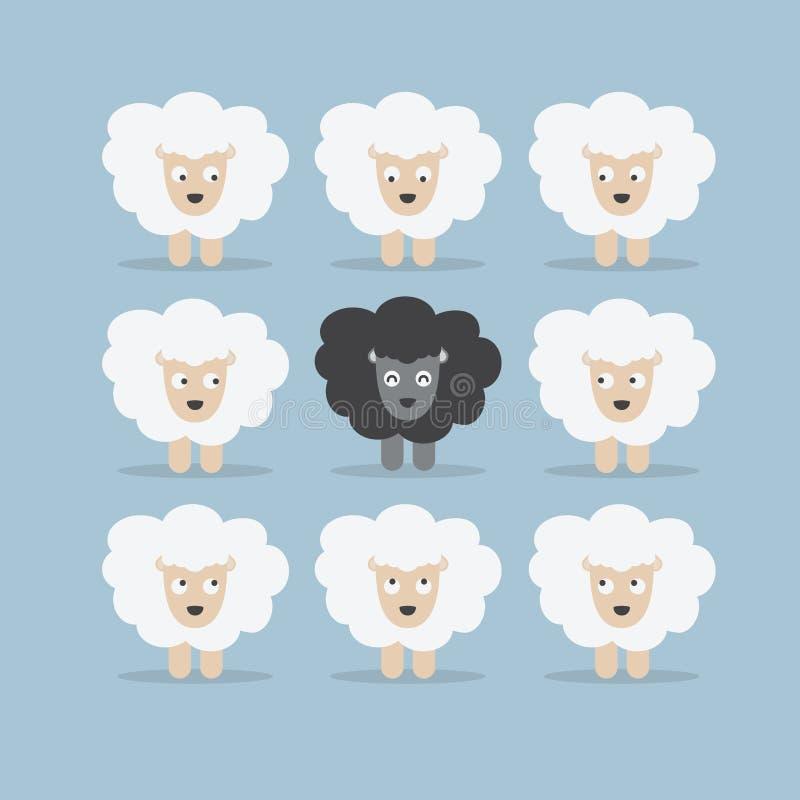 Паршивые овцы в толпе иллюстрация штока