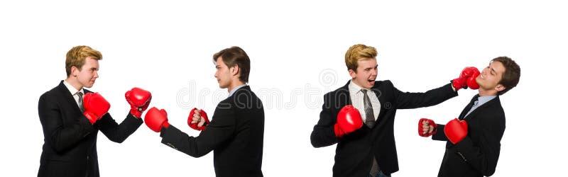 Пары бизнесменов кладя в коробку на белизне стоковая фотография