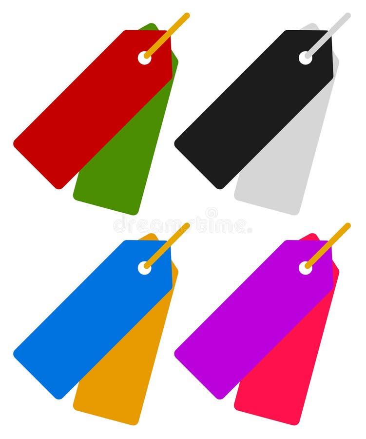 Пары бирок, висеть ярлыков Ценники, ярлыки цены значок или s иллюстрация штока