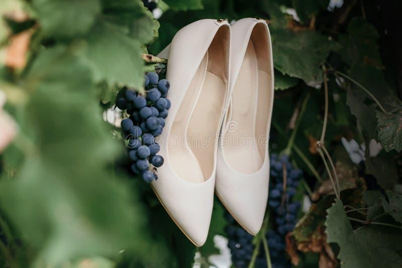 Пары ботинок свадьбы Белые элегантные ботинки свадьбы стоковое изображение rf