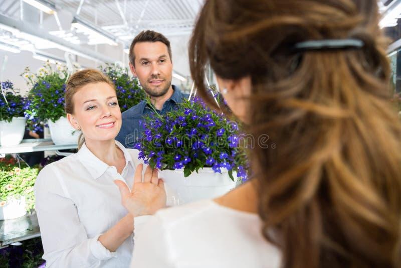 Пары будучи помоганным флористом в покупая заводе цветка стоковое изображение rf