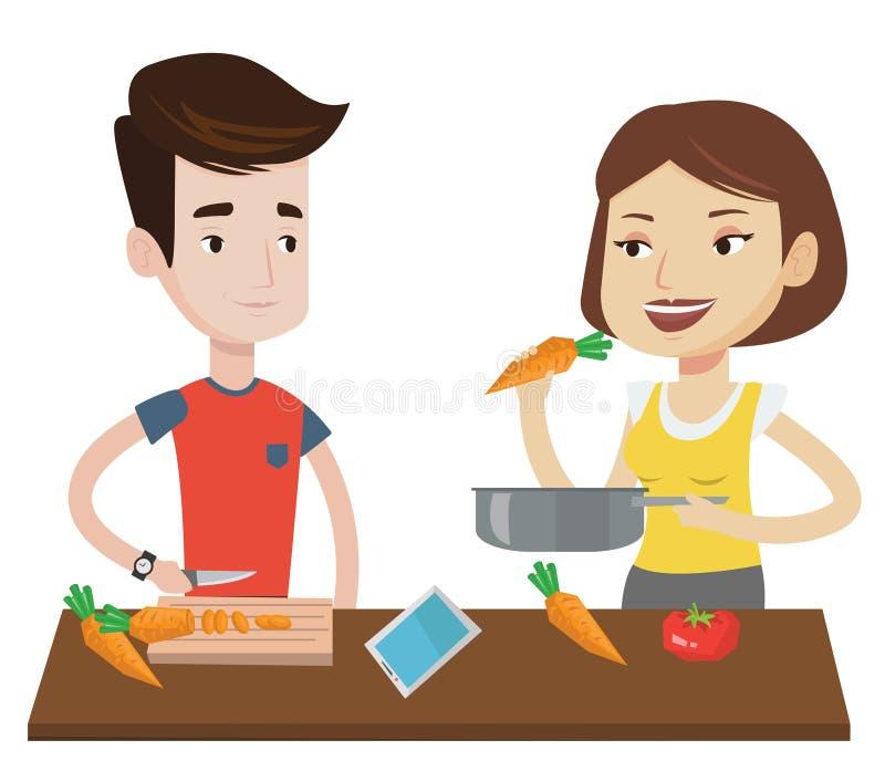 Пары варя здоровую vegetable еду иллюстрация вектора