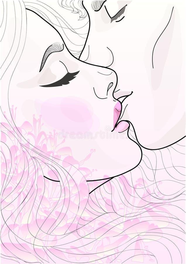 Пары вектора красивые любовников целуя нежно бесплатная иллюстрация