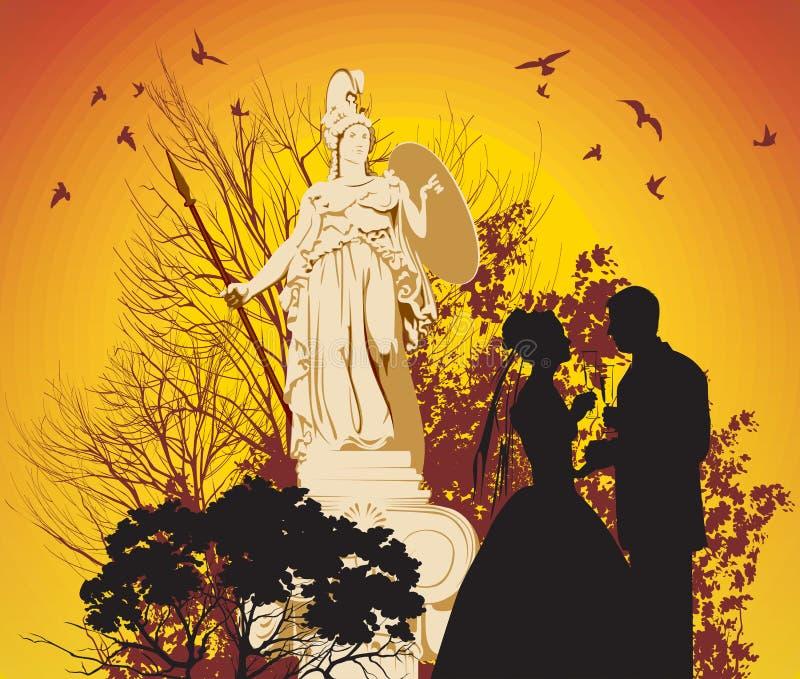 Пары венчания и греческая богина иллюстрация штока