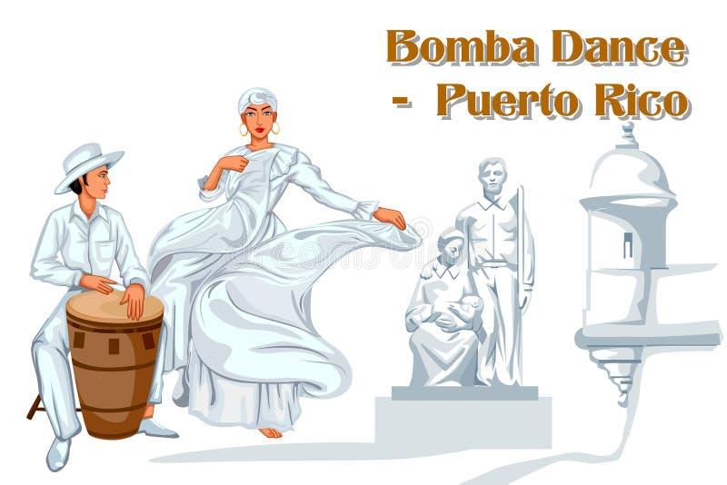 Пары выполняя танец Bomba Пуэрто-Рико иллюстрация вектора