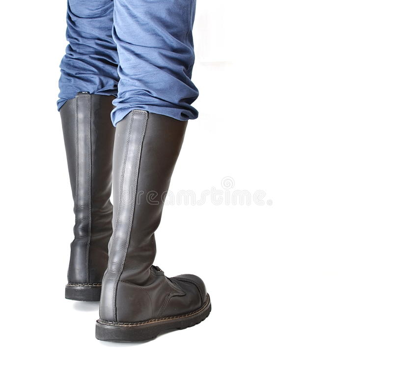 Пары высотой с колен 20 eyelet черные ботинки стал-пальца ноги стоковое фото rf