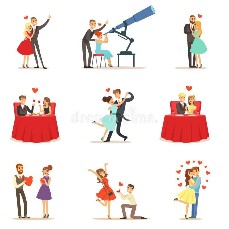 Пары в дате дня валентинки s St влюбленности романтичной, любовниках и Romance собрании иллюстраций вектора иллюстрация штока