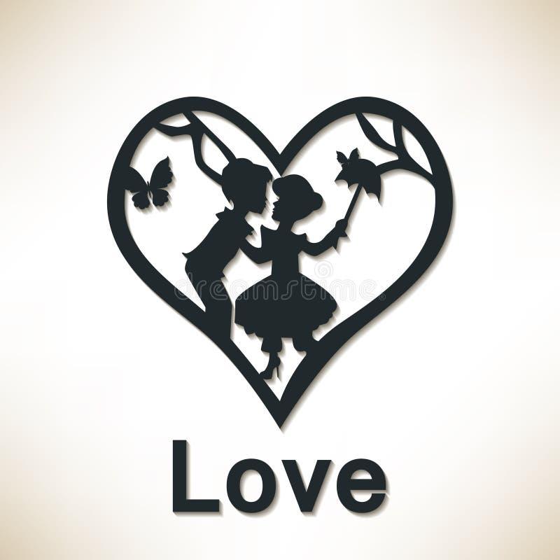 Пары в большом сердце человек влюбленности поцелуя принципиальной схемы к женщине иллюстрация вектора