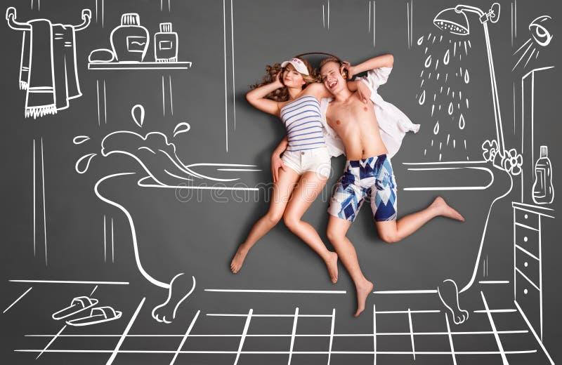 Пары в ванной комнате иллюстрация вектора