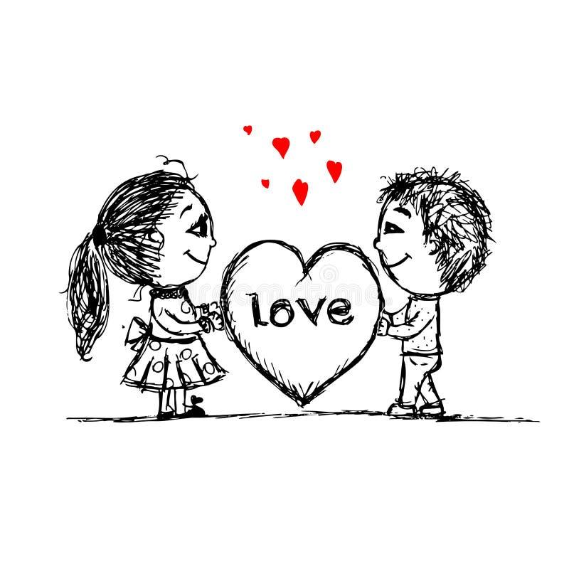 Пары в влюбленности совместно, эскиз валентинки для вашего иллюстрация вектора