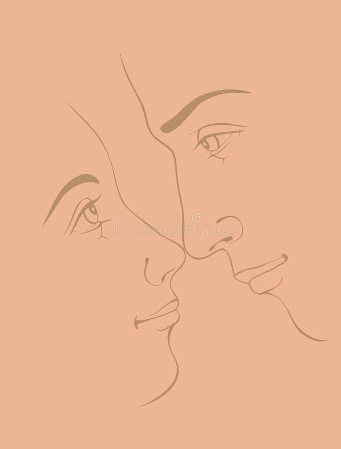 Пары в влюбленности иллюстрация штока