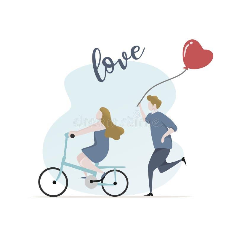 Пары в иллюстрации вектора любов для valentine' дизайн знамени карты дня s Концепция счастливых любовников ехать велосипед иллюстрация штока