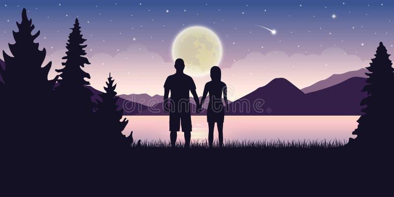 Пары в любов на красивом озере вечером с ландшафтом полнолуния и звездного неба мистическим бесплатная иллюстрация
