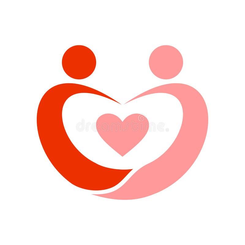 Пары в символе Swoosh влюбленности иллюстрация штока