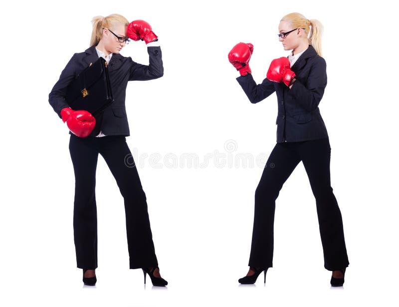 Пары в смешной концепции бокса стоковые изображения rf