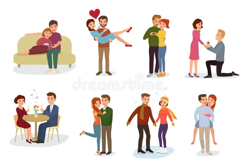 Пары в характерах любовников вектора влюбленности в симпатичных отношениях совместно на любящем дне и парне валентинок даты иллюстрация вектора