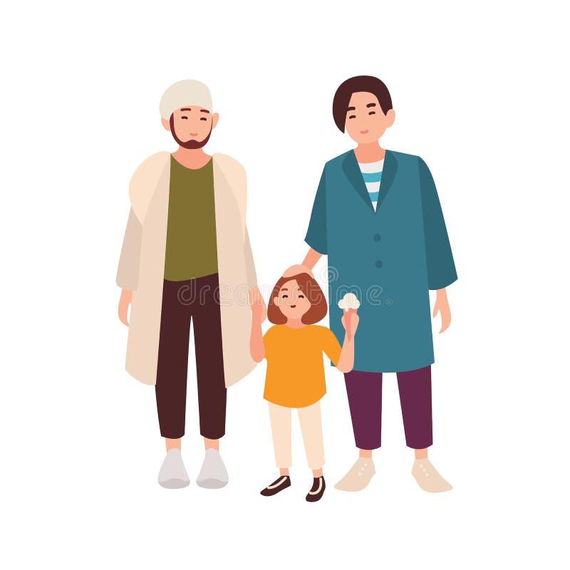 Пары гомосексуалиста стоя с их дочерью Пары усмехаясь молодых человеков и принятого ребенк Современная любящая гомосексуальная се бесплатная иллюстрация