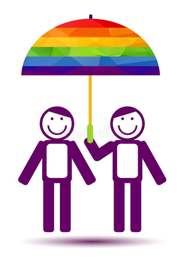 Пары гомосексуалиста с зонтиком бесплатная иллюстрация