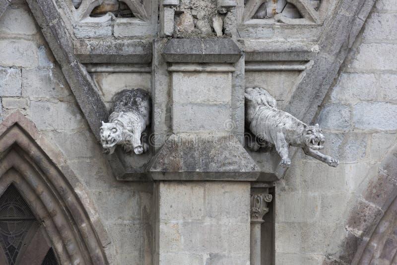 Пары горгулий ягуара на del Voto Nacional базилики стоковое фото