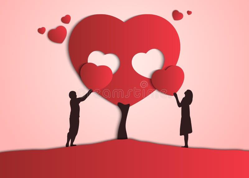 Пары дают валентинки одина другого Парень и девушка создать их дерево любов иллюстрация штока