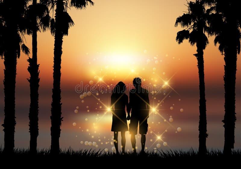 Пары держа руки против предпосылки захода солнца бесплатная иллюстрация