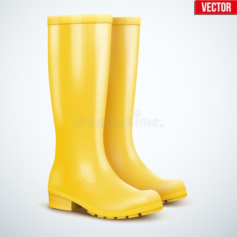 Пары желтых ботинок дождя иллюстрация вектора