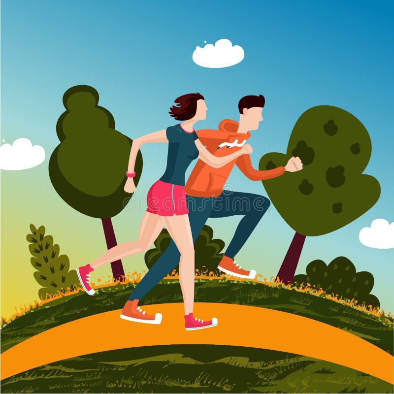 пары засевают идущий заход солнца травой неба Люди, который побежали в парке Человек и женщина дальше разрабатывают кашевар шаржа иллюстрация штока
