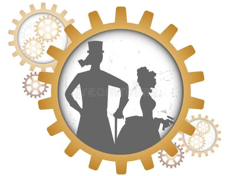 пары зацепляют внутри steampunk силуэтов тени иллюстрация вектора
