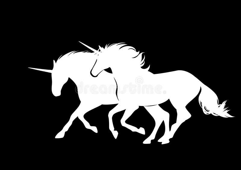 Пары идущего дизайна вектора лошадей единорога бесплатная иллюстрация