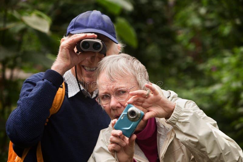 Пары используя камеру и бинокли стоковое фото rf