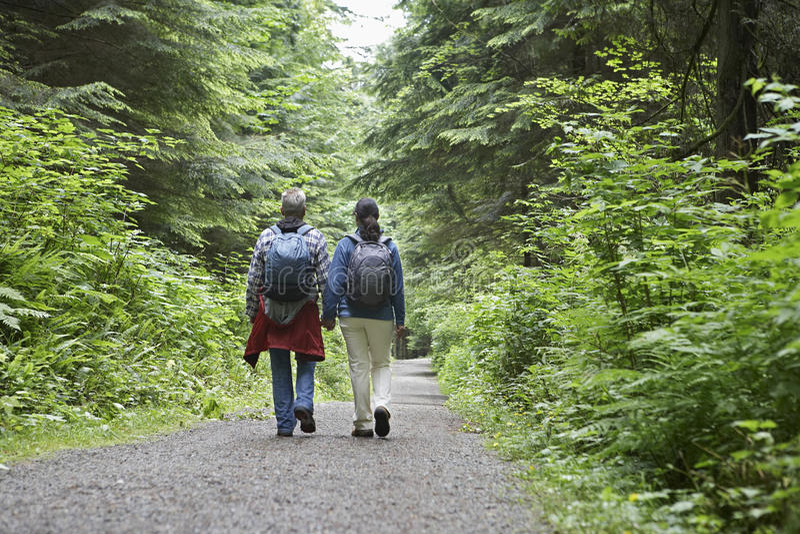 Пары идя на дорогу леса стоковые фото