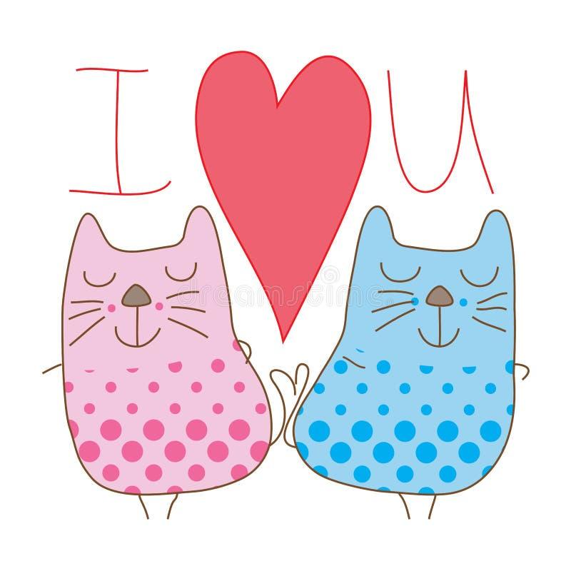Пары кота носят точку l любят вас для того чтобы покрыть иллюстрация штока