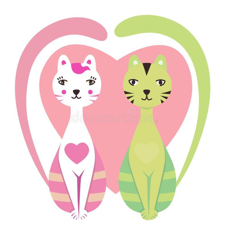 пары котов иллюстрация вектора