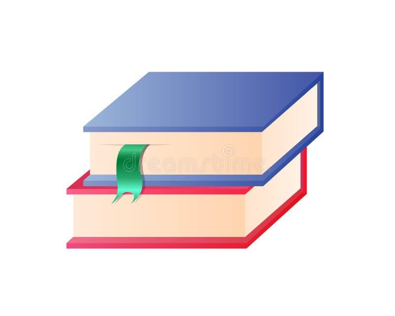 Пары красочных книг с закладками в куче бесплатная иллюстрация