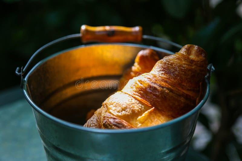 Пары круассанов в олове bucket освещенный сильным li солнца утра стоковое фото rf