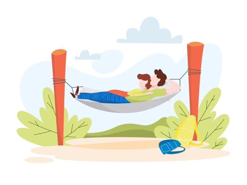 Пары лежа в гамаке Люди на природе бесплатная иллюстрация